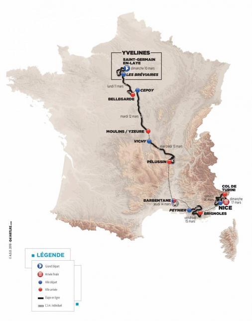 Paris-Nizza 2019 – útvonal