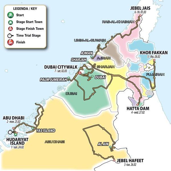 UAE Tour 2019 – útvonal