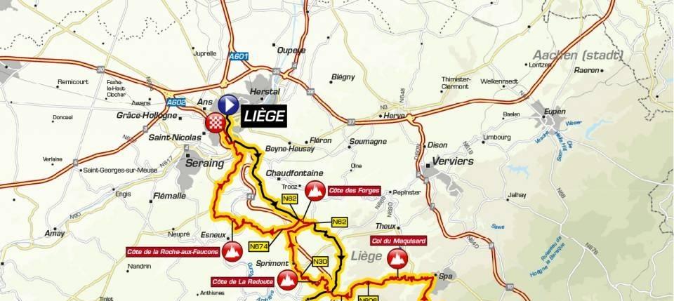 Liege-Bastogne-Liege 2019 – Útvonal