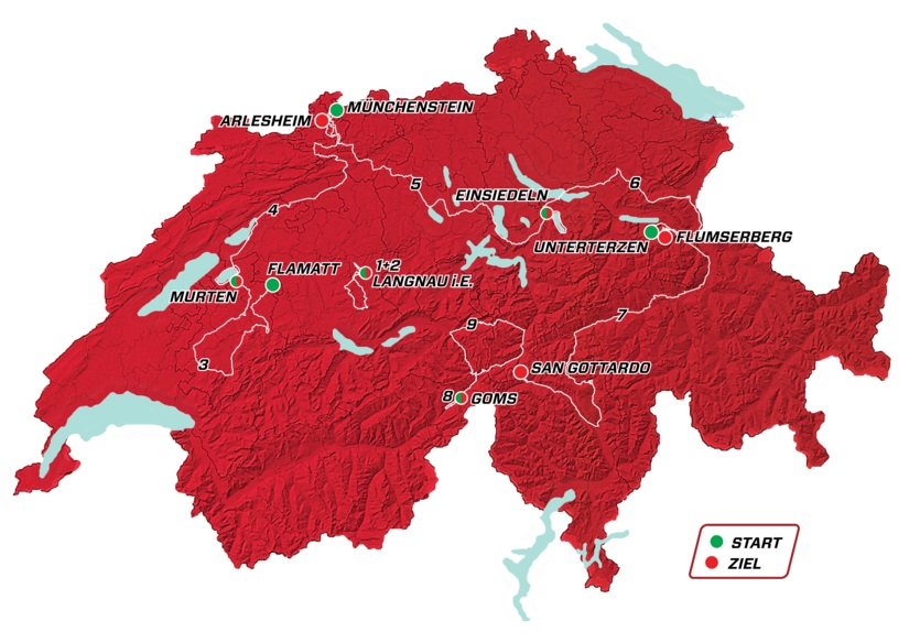 Tour de Suisse 2019 – Útvonal
