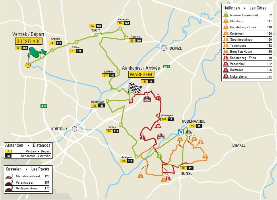 Dwars door Vlaanderen 2019 – útvonal