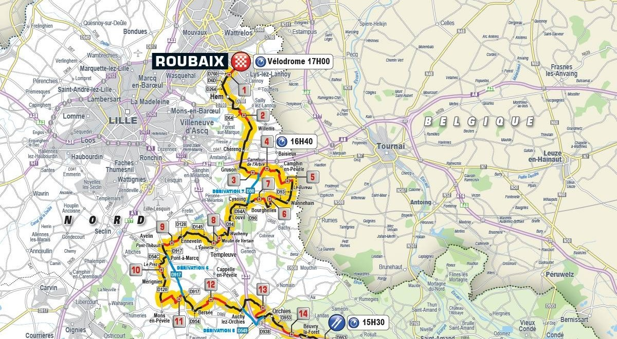 Paris-Roubaix 2019 – útvonal
