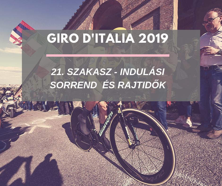 Giro d'Italia 2019  – 21 szakasz indulási sorrend, rajtidők