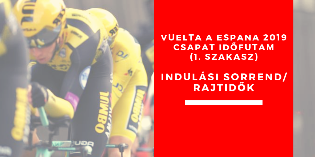 Vuelta a Espana 2019 – csapatidőfutam (1. szakasz) indulási sorrend, rajtidők