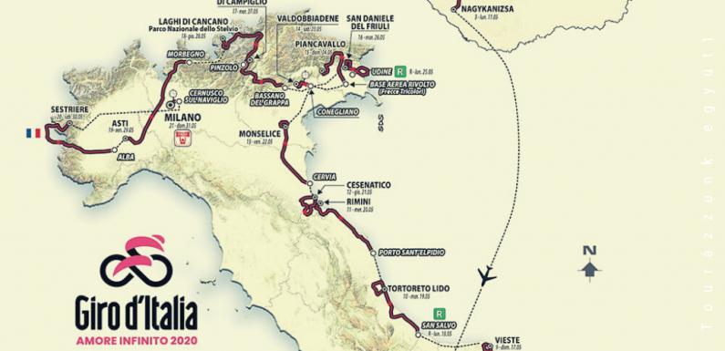Giro d'Italia 2020 – A teljes útvonal (szakaszok és szakaszprofilok)